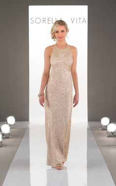 This high-neck sequin sheath bridesmaid gown from Sorella Vita is the perfect addition to your elegant and glamorous bridal party.