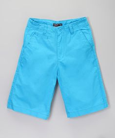Look at this #zulilyfind! Light Blue Flat-Front Shorts - Boys by Galaxy by Harvic #zulilyfinds