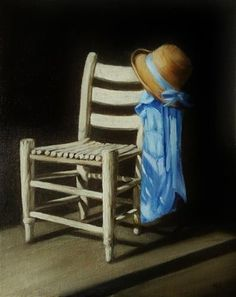 "Daily Paintworks - ""Country Chair and Denim Shirt"" by Mary Ashley Painted Chairs, Still Life Art, Denim Shirt, Mary, Oil, Fine Art, Contemporary, The Originals, Country"