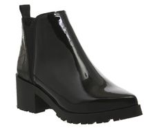 Office Cactus Cleated Sole Chelsea Boots Black Patent Leather Black Croc Embossed - Ankle Boots