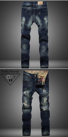 b33007b0b360 Proka Pnordy Brand Distressed Denim Jeans Men 2017 Fashion Destroy Hole Jeans  Men s Straight Slim Moustache Effect Ripped Jeans