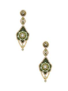 Beaded Dangle Statement Earrings Material: 18K gold-plated brass, Swarovski crystals, Miyuki beads, and 14K gold-fill