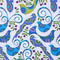 Michael Miller Fabric Blue Pretty Bird Doves