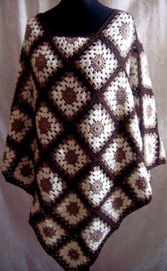 Crochet Poncho/ Granny Squares/ Handmade/ Premium Acrylic/ Wool/ Adults L/ Knitwear/ Body Wrap/ Cozy/ Practical/ Ready to Ship
