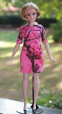 "Clothes for Curvy Barbie Doll. ""Real Tree Camo"" print dress for Dolls."