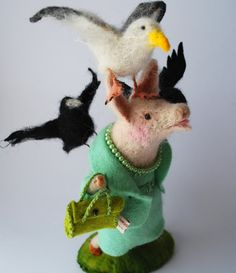 Original Needle Felted (Alfred Hitchcock Inspired) Pig Chased by Birds