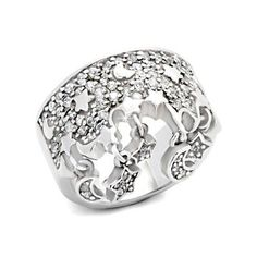 Designer Silver Moon & Stars Ring - Perfect Gift for a Woman, VORI08-04446