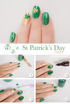 st patrick nails easy nail art tutorial. Green nails with gold shamrock.  #DIYNAILARTDESIGNS #nail #nails #nailart #naildesigns #polish #nailpolish #stpatrick #stpattysday #stpatricksday #green