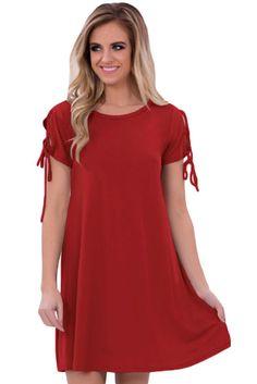 Robe Decontracte Courte Manches Rouge Lacets. Black Lace Up DressMini  RobesShort Sleeve DressesShort SleevesMini DressesCasual Summer ... fa1441e3e