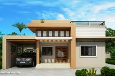Meet Kassandra, two storey house design with roof deck. The ground floor has a total floor area of 107 square meters and 30 square meters at the second floor Home Design, House Roof Design, Two Story House Design, Small House Design, House Layout Plans, Modern House Plans, House Layouts, House Floor Plans, Two Storey House Plans
