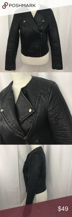 TOPSHOP sz6 black synthetic motorcycle jacket Excellent used condition TOPSHOP sz6 black synthetic motorcycle jacket...looks and feels like real leather...has one faint mark on bottom of left sleeve-see pict-not very noticeable...otherwise in great shape... Topshop Jackets & Coats