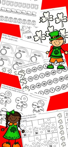 20 NO PREP St. Patrick's Day Math Printables!!  Ready to use and great for last minute needs as well as DIFFERENTIATION! $