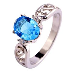 Psiroy 925 Sterling Silver Stunning Created Gorgeous Women's 7mm*9mm Oval Cut CZ Blue Topaz Filled Ring