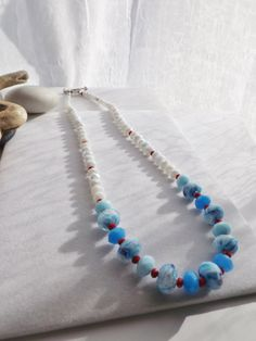 Red, White and Blue Patriotic Glass Beaded Necklace for Spring, Summer, Winter, 4th of July, Memorial Day, Special Occasions, Gift for Her