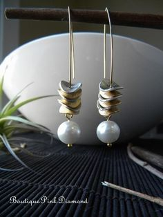 Two Tone Multi Disk Earrings with Pearls by boutiquepinkdiamond, $31.00
