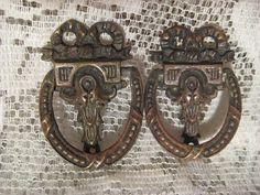 1 Pair Sweet Vintage 1930's Ornate Brass Drawer by StarPower99, $11.99
