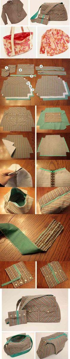 Voici une idée pour réaliser un sac et la pochette assortie, bien pratique à peu de frais : avec une vieille chemise country à rayures, on récupère les poches et les manches aussi: ...tout en images... Clic, pour agrandir! Et pour plus d' explications,...