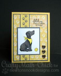 Labrador Dog Birthday Card by Crafty Math-Chick | Fetching Friendship Stamp set by Newton's Nook Designs