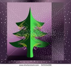 Sparkling #greeting #card with decorated #Christmas #tree on #purple background with stars