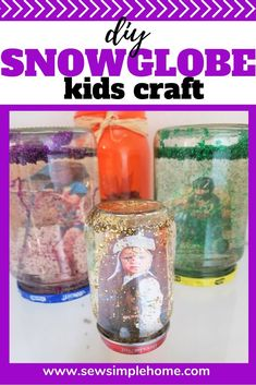 Create your own diy snowglobe kids craft in a jar using your own pictures. Diy Crafts For Kids Easy, Christmas Crafts For Kids, Summer Crafts, Halloween Crafts, Diy For Kids, Kids Crafts, Baby Food Jars, Diy Art Projects, Craft Day