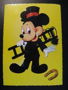 1966...Old Vintage Walt Disney Postcard: Mickey as a chimney sweep...                                                                                                                                                                                 More