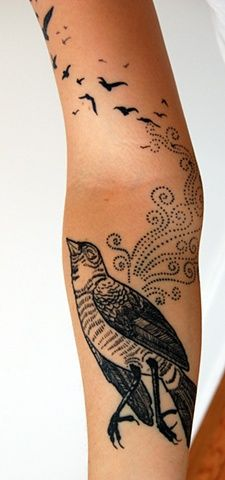 Bird tattoo, a big one, not sure I want it this big but the little ones on top amuse me