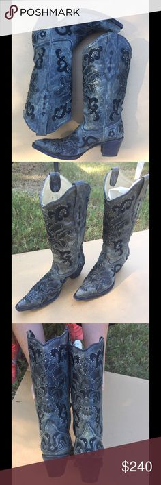 Corral Boots great condition Grey with black design. Leather corral boots worn once. Great condition. Corral Shoes Heeled Boots