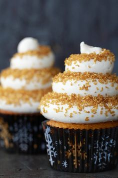 #KatieSheaDesign ♡❤ ❥  Eggnog Cupcakes with a Spiced Rum Buttercream