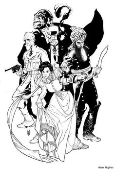 Too cool for words! The League of Extraordinary Gentlemen by Adam Hughes - does anyone know if this ever saw publication?