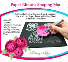 Paper Flowers Molding Mat & Shaping Tool Set, Flower Shaping Kit and Ball Stylus Tools to use with Paper Flower Templates, Embossing Mat Giant Flowers, Large Flowers, Diy Flowers, Paper Flowers, Flower Ideas, Fabric Flowers, Diy Fleur Papier, Papier Diy, Mat Paper