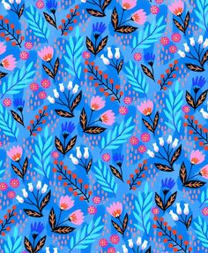 I've got patterns on my mind lately! Creating lovely patterns like this one, might just be one of my favorite things to do 😊💕💙 Surface Pattern Design, Pattern Art, Pattern Paper, Flora Pattern, Motifs Textiles, Textile Prints, Paper Design, Fabric Design, Textures Patterns