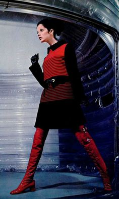 1968 Louis Feraud mod looks space age fashion late 60s twiggy style mini dress knit sweater shiny red boots black winter long sleeves stripes
