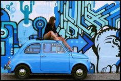 Blue Fiat 500