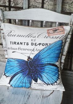 Pillow Cover Blue Butterfly Cotton and Burlap