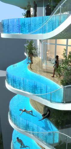 Balcony swimming pools in Aquaria Grande Tower (Expected completion Mar. 2014) ~ Borivali, Mumbai, India • architect: James Law