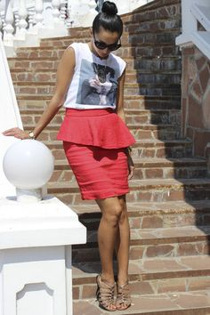 print t-shirt, pencil skirt, strappy sandals and high bun