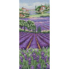 "Provence Lavender Landscape Counted Cross Stitch Kit-12.5""""X5.5"""" 16 Count"