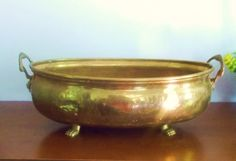 Vintage Brass Planter Large Brass Planter by SouthernWaterlillies