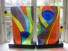 Glaskunst gemaakt door Veronica Huisintveld - Veronica Glas in lood Slumped Glass, Fused Glass Art, Mosaic Glass, Stained Glass, Glas Art, Kiln Formed Glass, Glass Photo, My Glass, Color Pallets