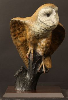 Bronze Animal Busts or Heads or Masksor Trophies For Sale or Commission #sculpture by #sculptor Bill Prickett titled: 'Barn Owl (bronze sculpture)' #art