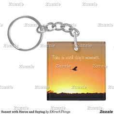 Sunset with Heron and Saying Keychain