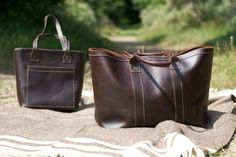 Burra tote, donkerbruin - dark brown | Leren tassen / Leather bags |