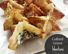 Fried wontons stuffed with collard greens and cream cheese-- a tasty finger food, perfect to bring along to any party!