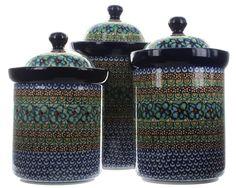 Blue Rose Polish Pottery: Mardi Gras 3PC Canister Set