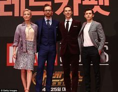Here they are! The cast of Avengers: Infinity War, including Pom Klementieff, Tom Hiddleston, Benedict Cumberbatch and Tom Holland (left-right), were naturally keen to look their best at every turn - this time during the South Korea premiere of the movie