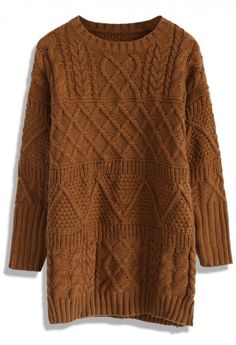 Cable Knit Sweater Dress in Tan