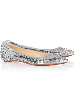 165d694019e Christian Louboutin - Pigalle Spikes metallic leather flats