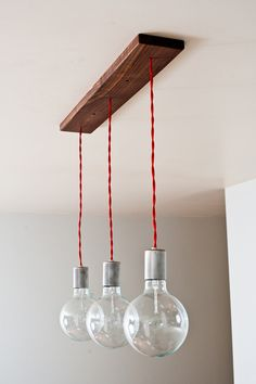 Triple Shot Straight - 3 Globe Hanging Pendants w/ Modern Walnut base