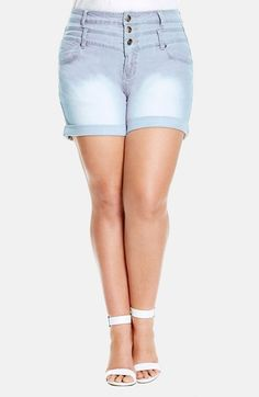 City Chic High Waist Denim Shorts (Plus Size) available at #Nordstrom