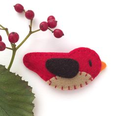 Girl Hair Clips Red Bird Snap Clip for by MangoMommyHairClips